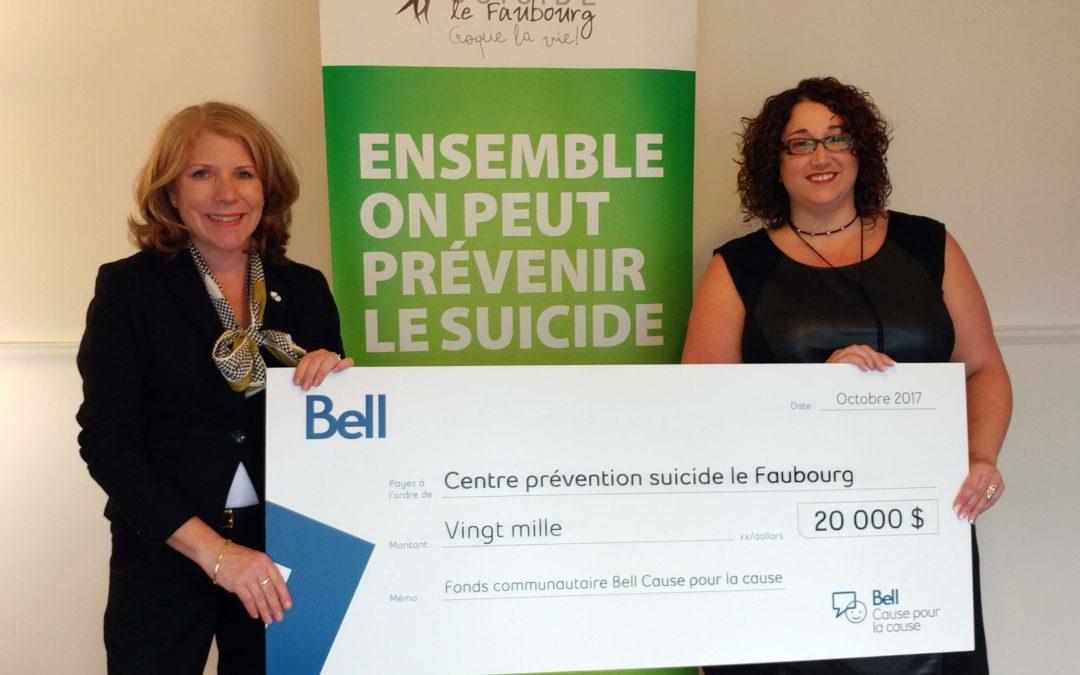 Le Fonds communautaire Bell Cause pour la cause fait un don de 20 000 $ au Centre prévention suicide le Faubourg